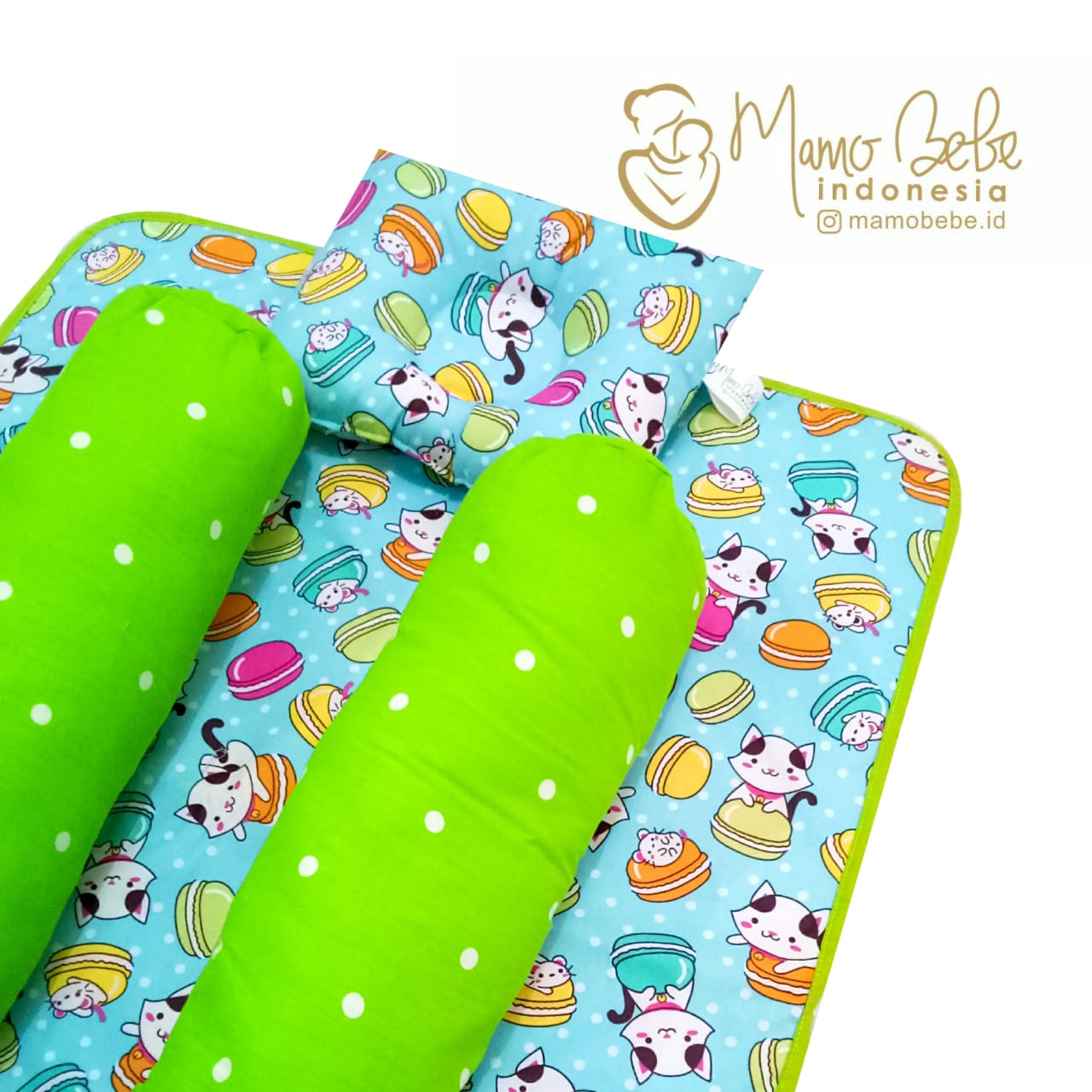 EKSKLUSIF Kado Bayi Baby Bedding Set 4in1 Matras Perlak Set Bantal Peang Plus 2 Guling motif Cat Macaroon Biru