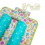 EKSKLUSIF Kado Bayi Baby Bedding Set 4in1 Matras Perlak Set Bantal Peang Plus 2 Guling motif Cat Macaroon Hijau