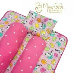 EKSKLUSIF Kado Bayi Baby Bedding Set 4in1 Matras Perlak Set Bantal Peang Plus 2 Guling motif Cat Macaroon Pink
