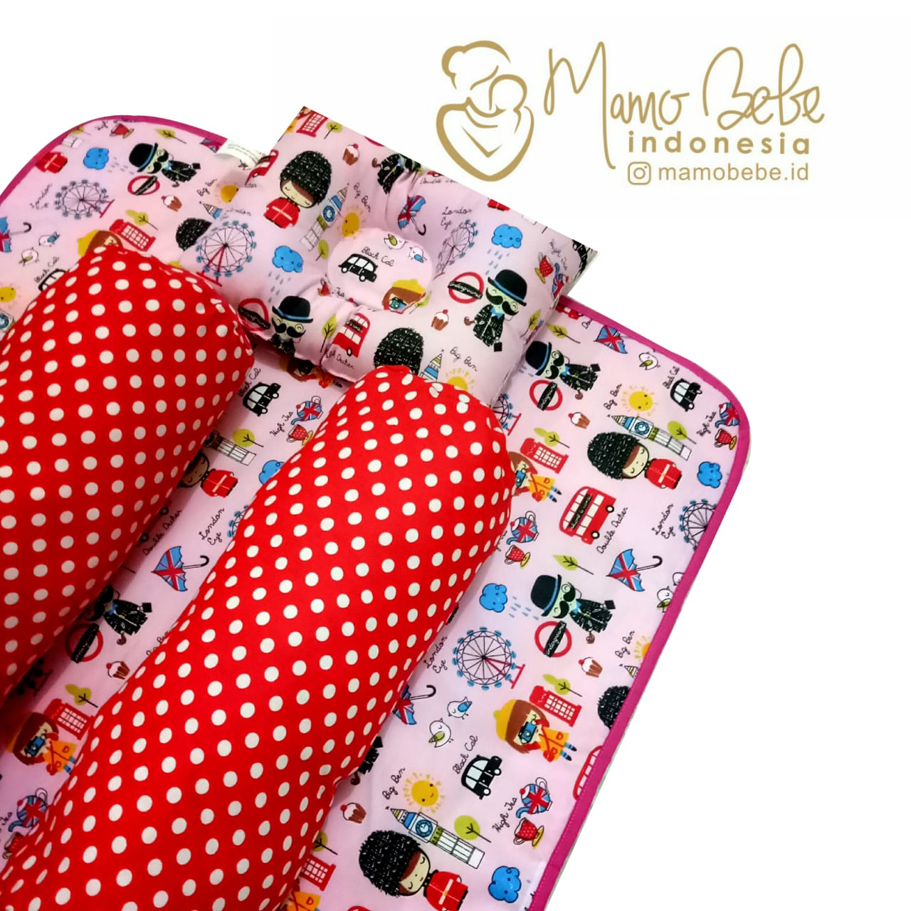 EKSKLUSIF Kado Bayi Baby Bedding Set 4in1 Matras Perlak Set Bantal Peang Plus 2 Guling motif London Pink