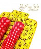 EKSKLUSIF Kado Bayi Baby Bedding Set 4in1 Matras Perlak Set Bantal Peang Plus 2 Guling motif Spongebob Squarepants