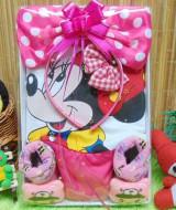 kado Lahiran Paket Kado Bayi Baby Gift Dress Minnie Mouse Pink fanta Cantik 69 terdiri Dress Pesta bayi 0-12bln,bando minnie dan kaos kaki boneka bayi