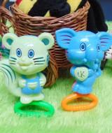 kado bayi murah set 2in1 mainan bayi rattle icik-icik krincingan double gajah tupai biru hijau