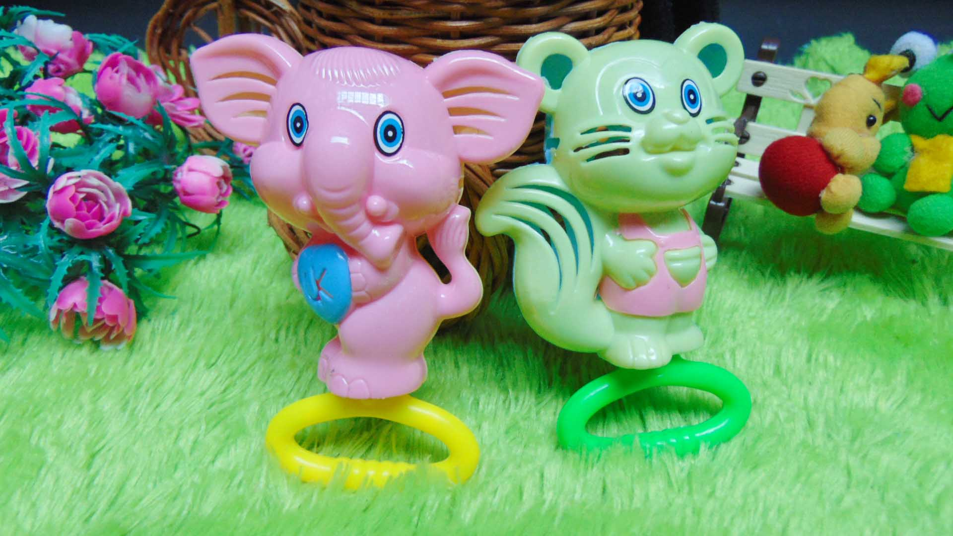 kado bayi murah set 2in1 mainan bayi rattle icik-icik krincingan double gajah tupai pink hijau