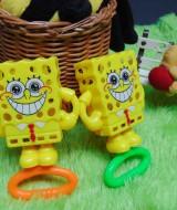 kado bayi murah set 2in1 mainan bayi rattle icik-icik krincingan double spongebob