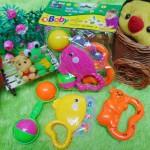 Playset kado bayi murah set 3in1 mainan bayi rattle icik-icik krincingan bisa bunyi komplit