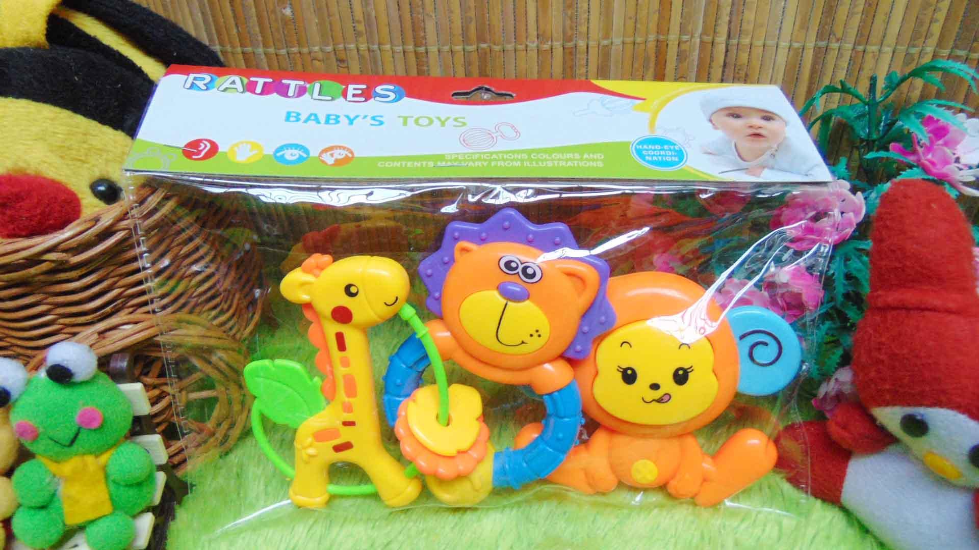 rattles kado bayi murah set 3in1 mainan bayi rattle icik-icik krincingan bisa bunyi komplit