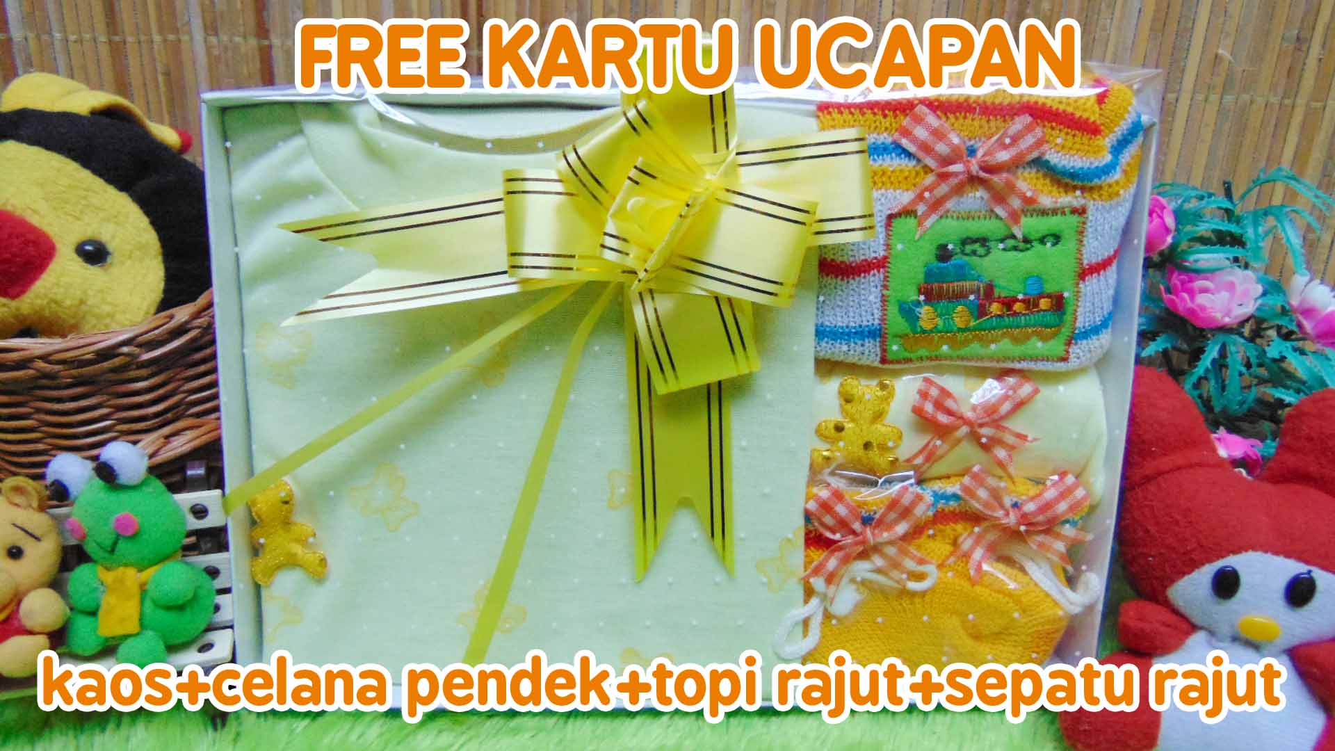 Hadiah Baby Gift Kado Lahiran Bayi Newborn Box Paket Setelan Bayi n Rajut Kuning (2)