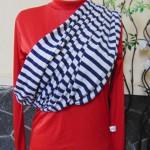 Kado Bayi Geos Gendongan Kaos Original Takasima Premium size L motif Navy Salur Putih BB Ibu 60-80kg – Cukin – Slings – Kain Gendongan Bayi