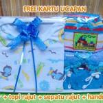 Hadiah Baby Gift Kado Lahiran Bayi Newborn Box Paket Jumper Bayi n Rajut Biru