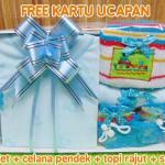 Hadiah Baby Gift Kado Lahiran Bayi Newborn Box Paket Setelan Kutung Singlet Bayi n Rajut Biru