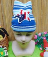 foto utama - kado bayi topi rajut lembut anak bayi 1-3th motif bintang biru (2)
