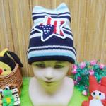 foto utama - kado bayi topi rajut lembut anak bayi 1-3th motif bintang navy (2)