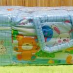 Kado bayi tas perlengkapan bayi motif beruang kotak biru dengan wadah botol susu tahan panas dingin