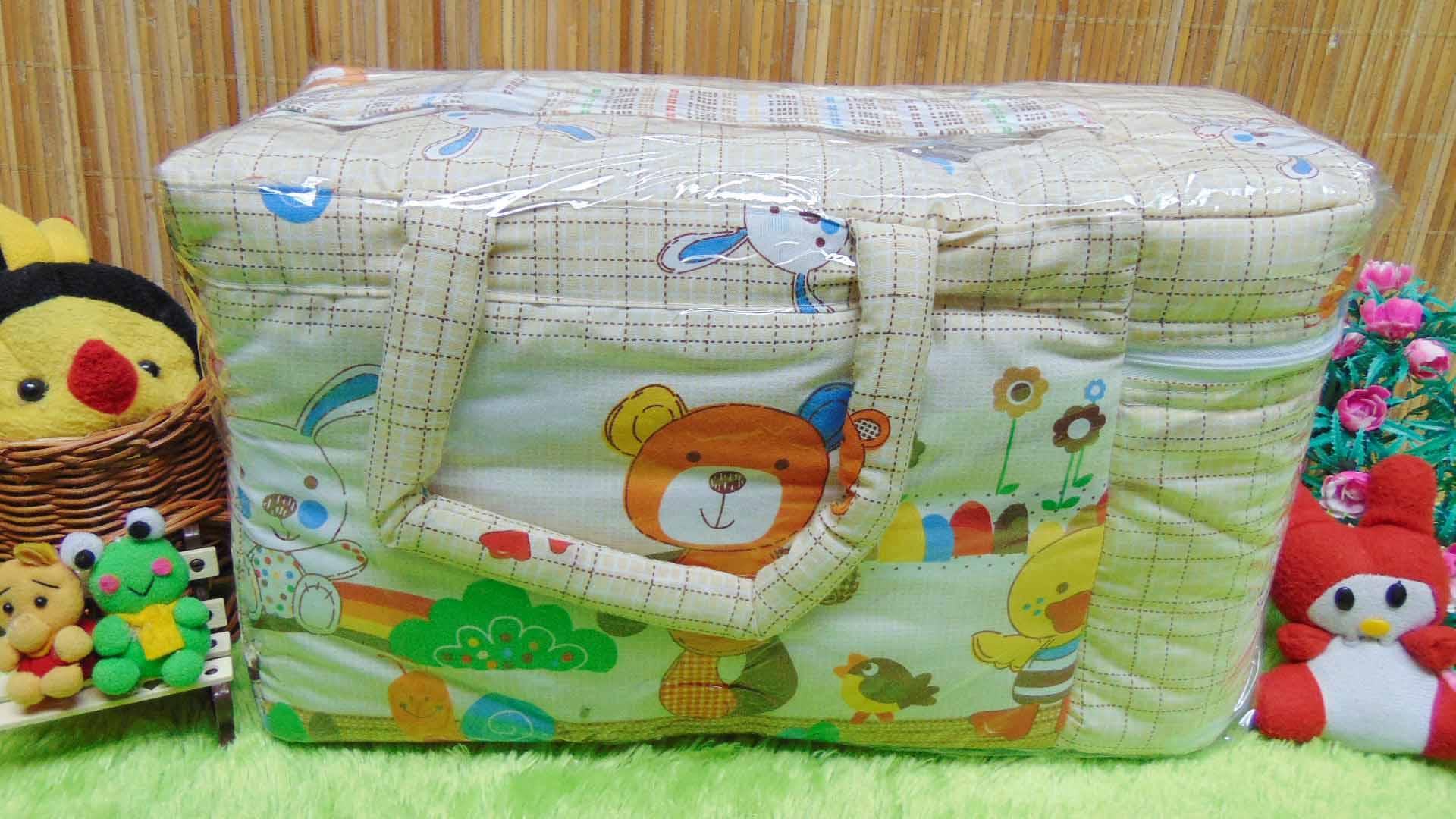 kado bayi tas perlengkapan bayi motif beruang kotak cokelat dengan wadah botol susu tahan panas dingin 65 praktis dibawa, motif lucu, cocok untuk kado,dimensi 40x17x23cm