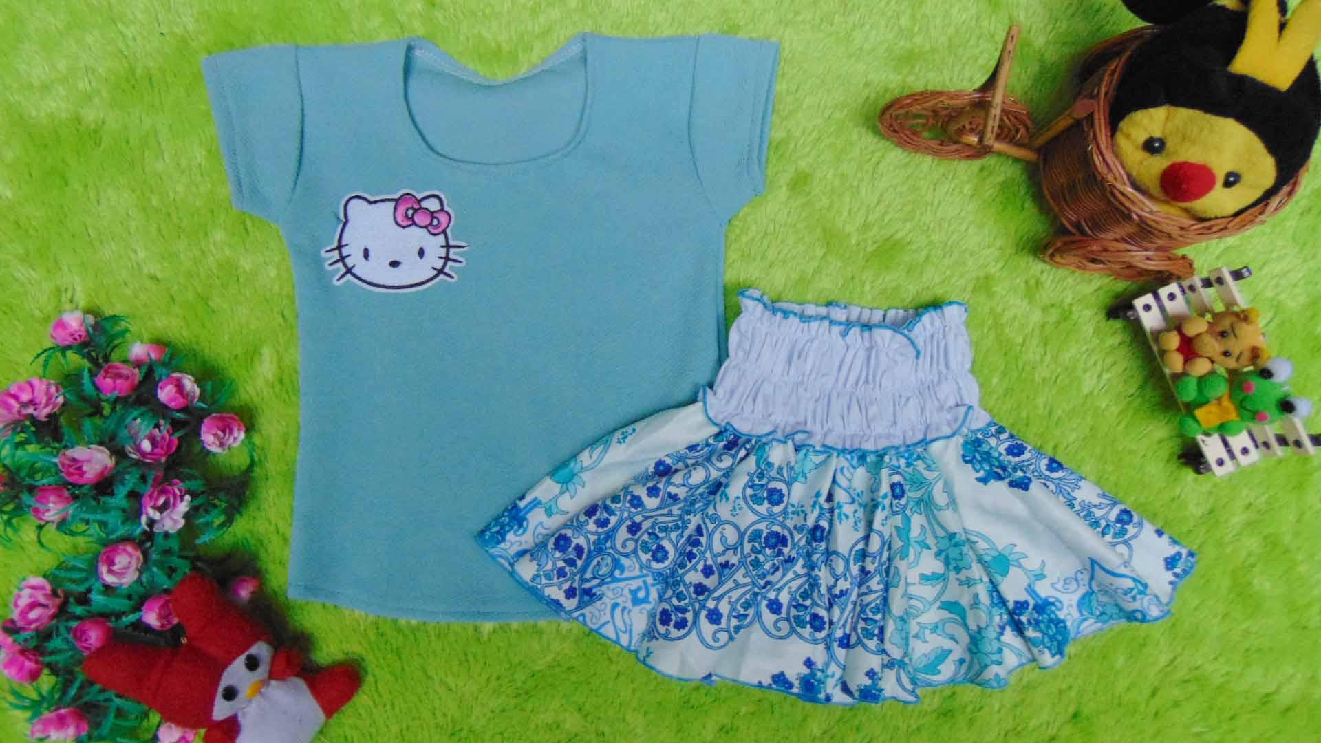 EXCLUSIVE Kado Bayi Setelan Baju Bayi 0-12bulan Atasan Pendek Wafel Plus Rok Turqoise Cantik
