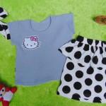 EXCLUSIVE Kado Bayi Setelan Baju Bayi 0-12bulan Atasan Wafel Plus Rok Bandana Grey Cantik