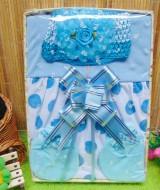 Kado Lahiran Box Paket Kado Bayi Perempuan Cewek Baby Gift Dress Biru Polka Cantik 52 terdiri Dress bayi 0-9bln,turban serta sarung tangan dan kaki bayi