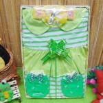 Kado Lahiran Box Paket Kado Bayi Perempuan Cewek Baby Gift Dress Hijau Salur Cantik