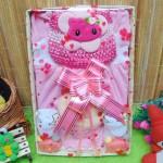 Kado Lahiran Box Paket Kado Bayi Perempuan Cewek Baby Gift Dress Kucing Pink n Baby Sock