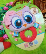 kado bayi mainan edukasi baby gift rattle krincingan plus gigitan motif sweet owl