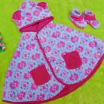 PAKET HEMAT kado bayi newborn eksklusif terbaik baby cape + booties cuddle me aztec pink