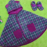 PAKET HEMAT kado bayi newborn eksklusif terbaik baby cape + booties cuddle me check purple