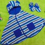 PAKET HEMAT kado bayi newborn eksklusif terbaik baby cape + booties cuddle me stripe blue