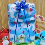 FREE KARTU UCAPAN paket kado lahiran bayi baby gift set box jaket plus boneka motif doreng biru