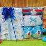 FREE KARTU UCAPAN Kado Lahiran Paket Kado Bayi Newborn Baby Gift Box DORAEMON Full Package Sock White Biru