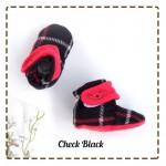 kado sepatu bayi prewalker baby newborn 0-6bulan booties cuddleme motif Check Black