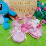 sepatu prewalker bayi newborn 0-6bulan pesta pink1 bunga mekar cantik