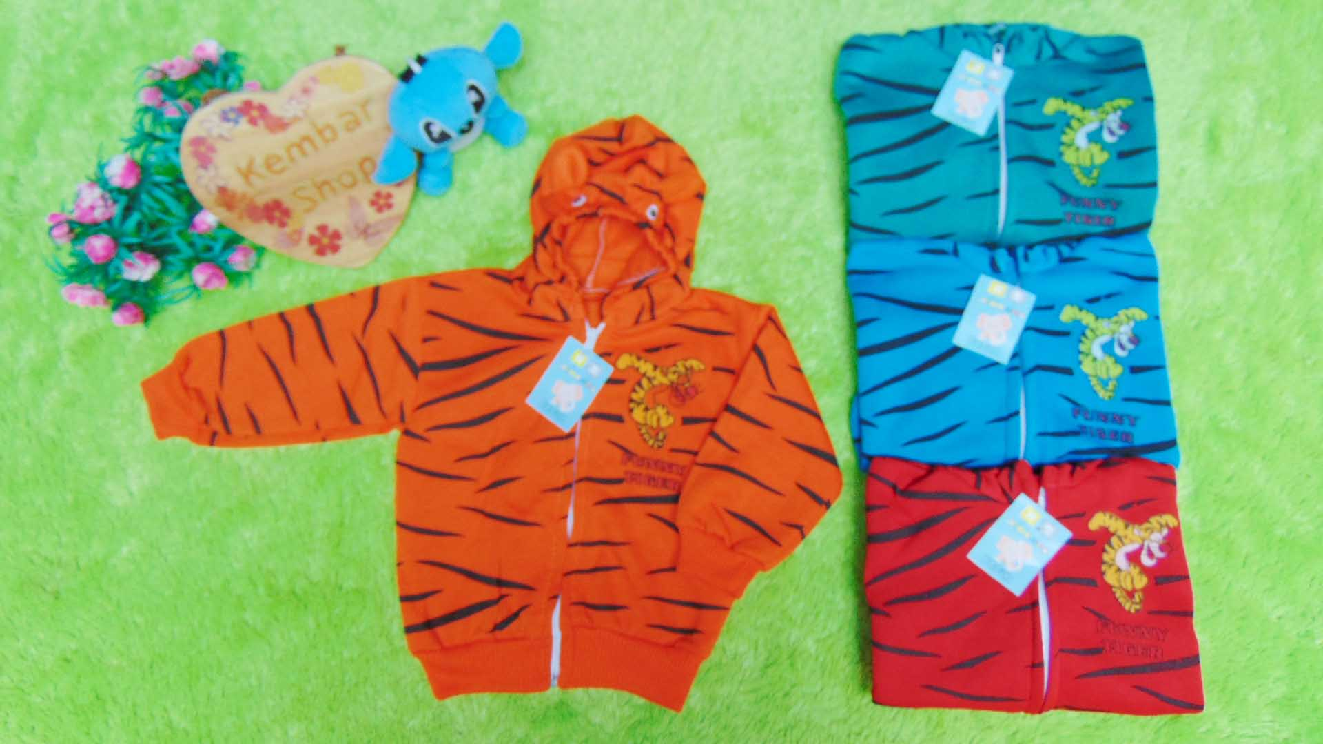 Baju Jaket Bayi Newborn 0-12bulan Doreng Harimau Hangat Murah