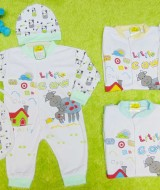 kado bayi set romper bayi newborn 0-9bulan plus topi dan slaber bayi motif mom and little cow Aneka Warna
