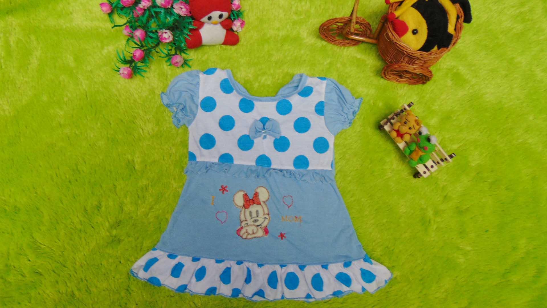 dress baju bayi perempuan cewek newborn 0-6bulan murah lembut biru polka mickey