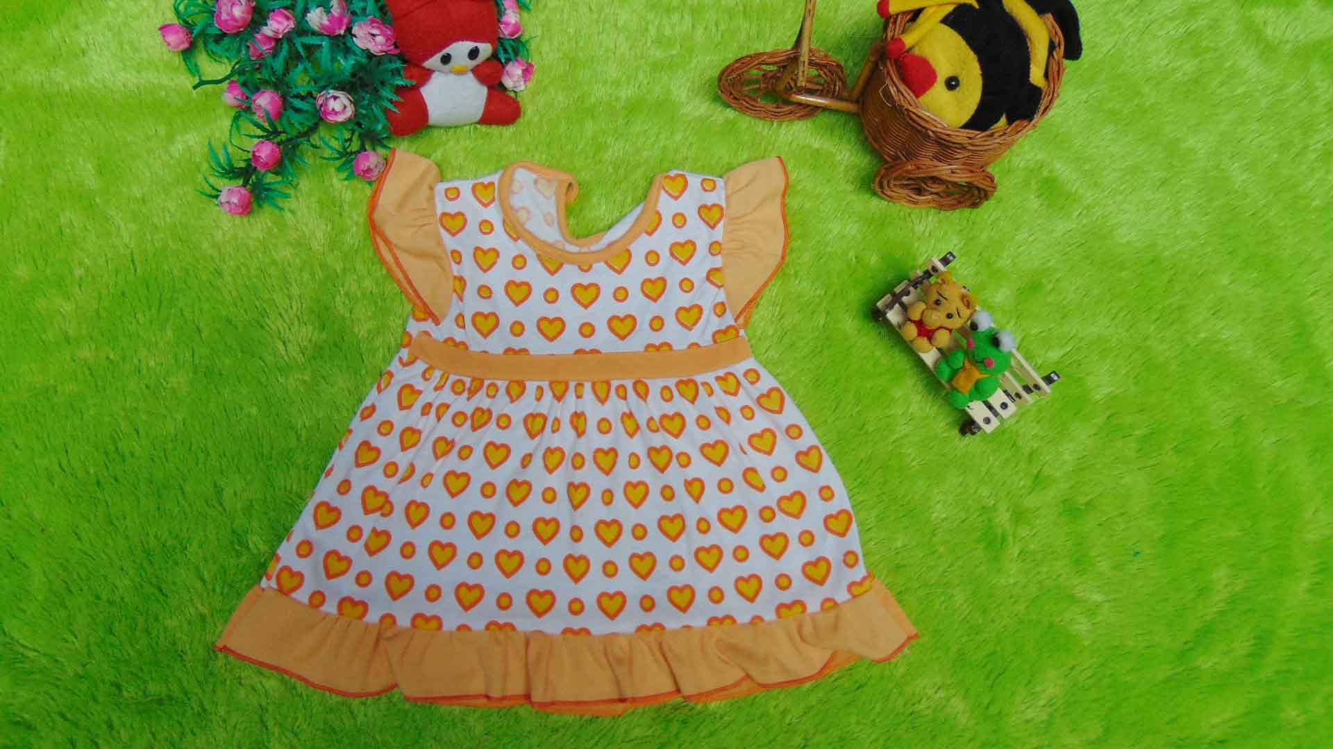 dress baju bayi perempuan cewek newborn 0-6bulan murah lembut love kuning