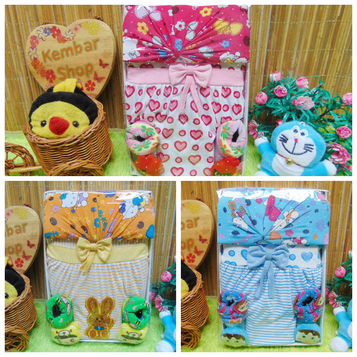 foto utama FREE KARTU UCAPAN Kado Lahiran Box Paket Kado Bayi Perempuan Cewek Baby Gift Set Dress Sock turban Hello Kitty Aneka Warna