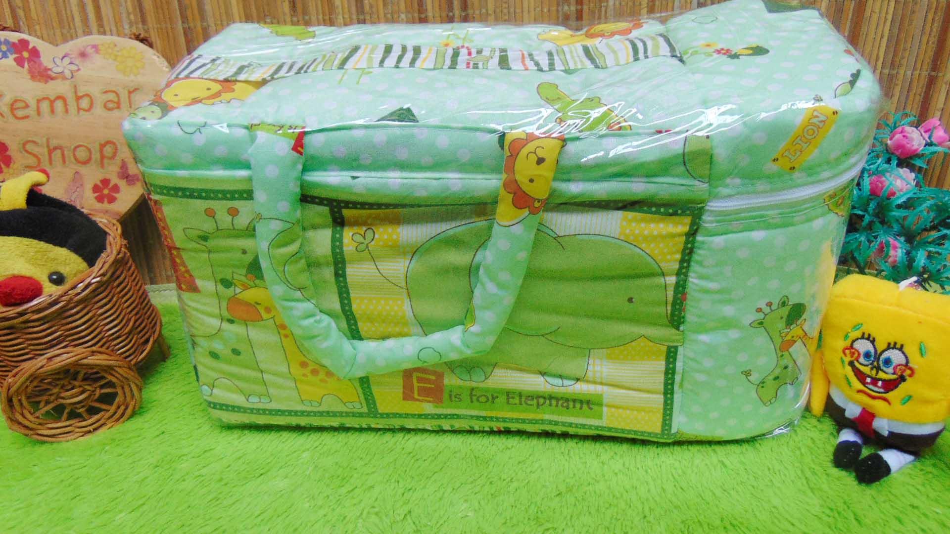 kado bayi tas perlengkapan bayi motif polka animal aneka warna dengan tempat botol susu tahan panas dingin (1)