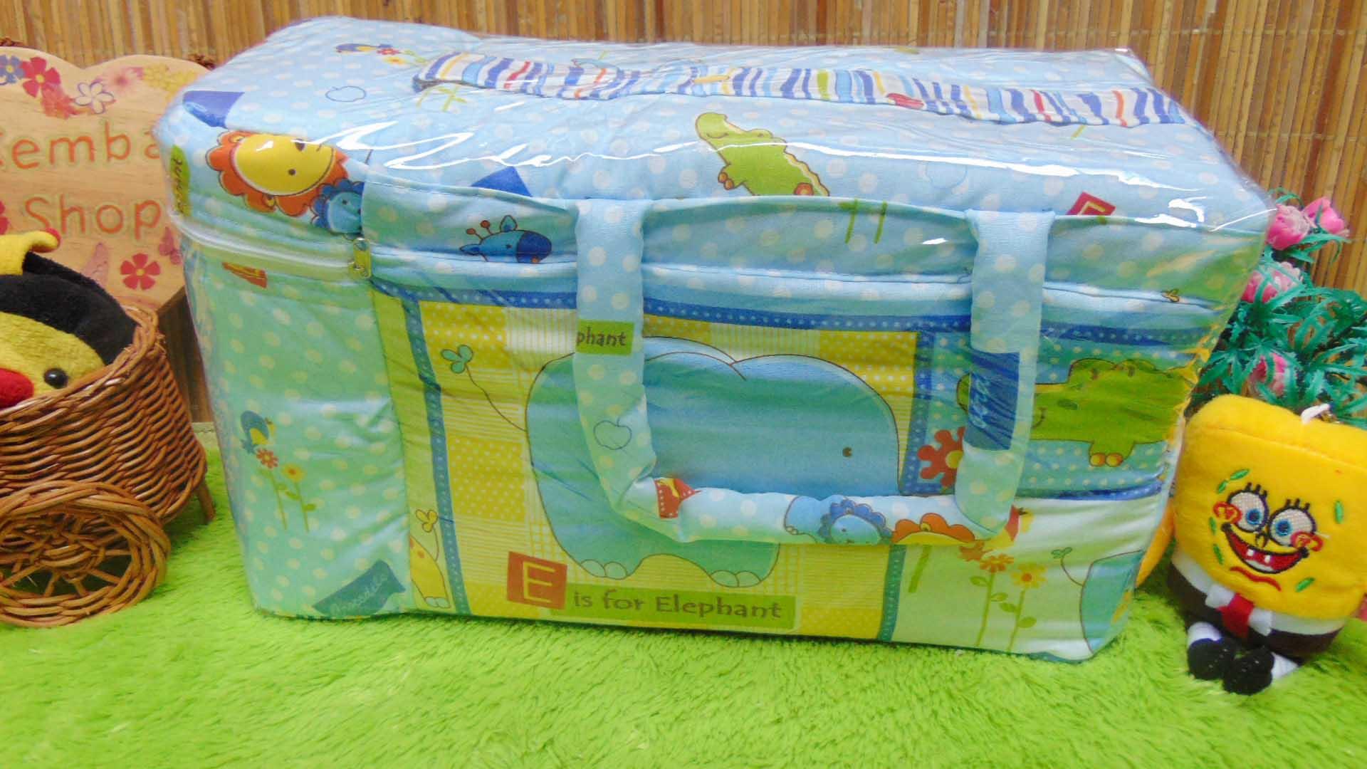 kado bayi tas perlengkapan bayi motif polka animal aneka warna dengan tempat botol susu tahan panas dingin (3)