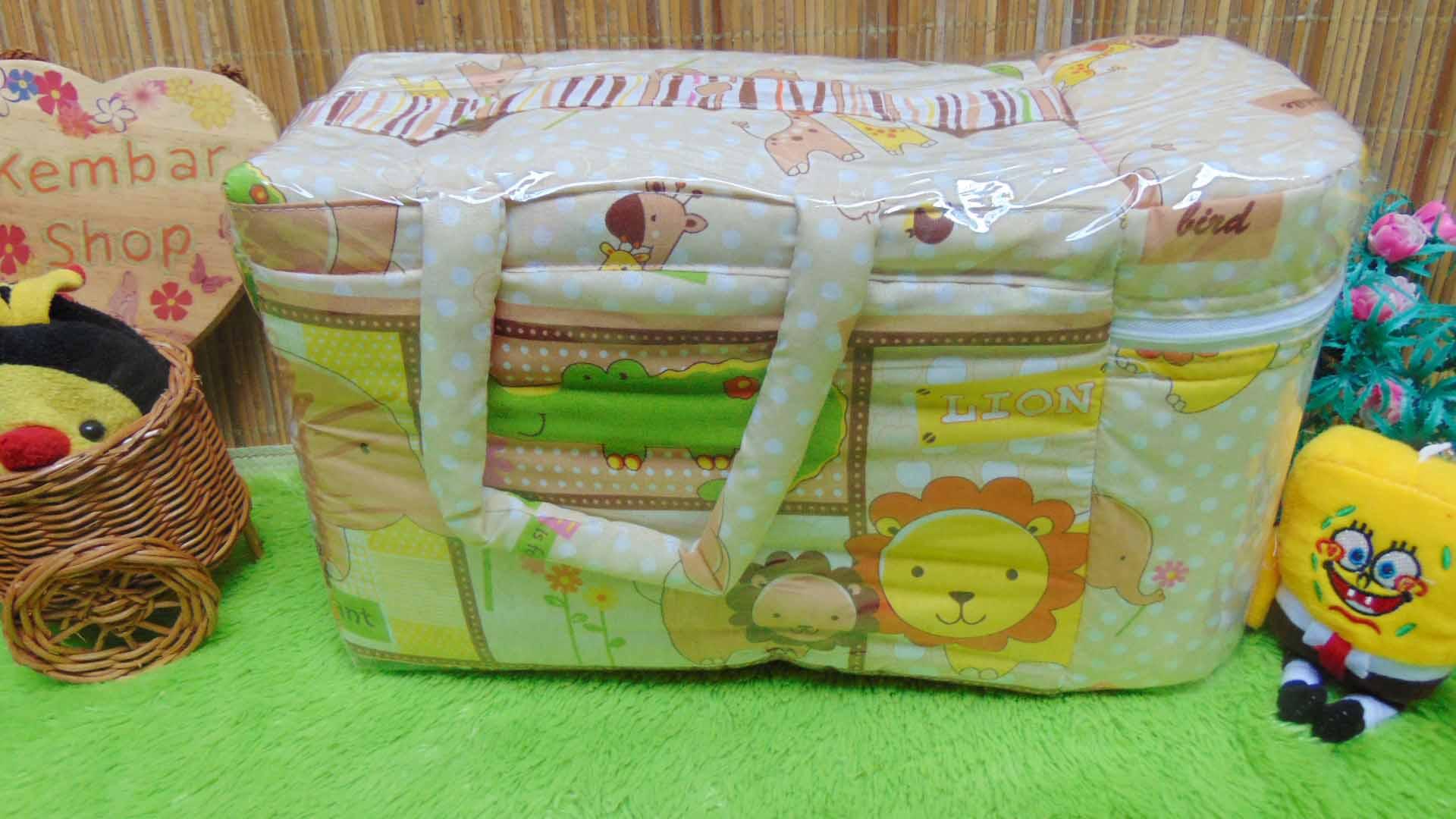 kado bayi tas perlengkapan bayi motif polka animal aneka warna dengan tempat botol susu tahan panas dingin (4)