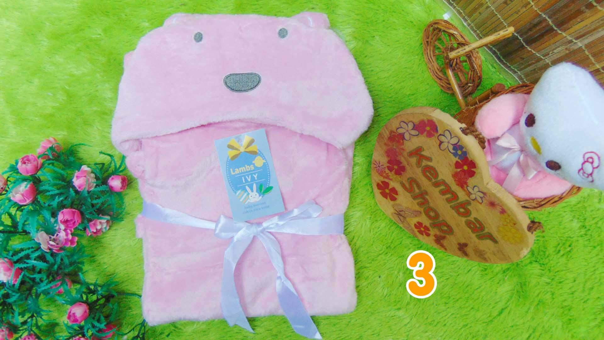 kado bayi selimut topi bulu carter double fleece animal karakter motif baby cewek perempuan (3)