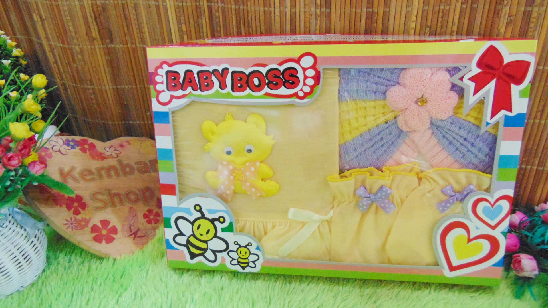 FREE KARTU UCAPAN Paket Cantik Kado Bayi Perempuan Baru Lahir 0-6bulan Setelan Baby Girl + Turban Warna Random (1)