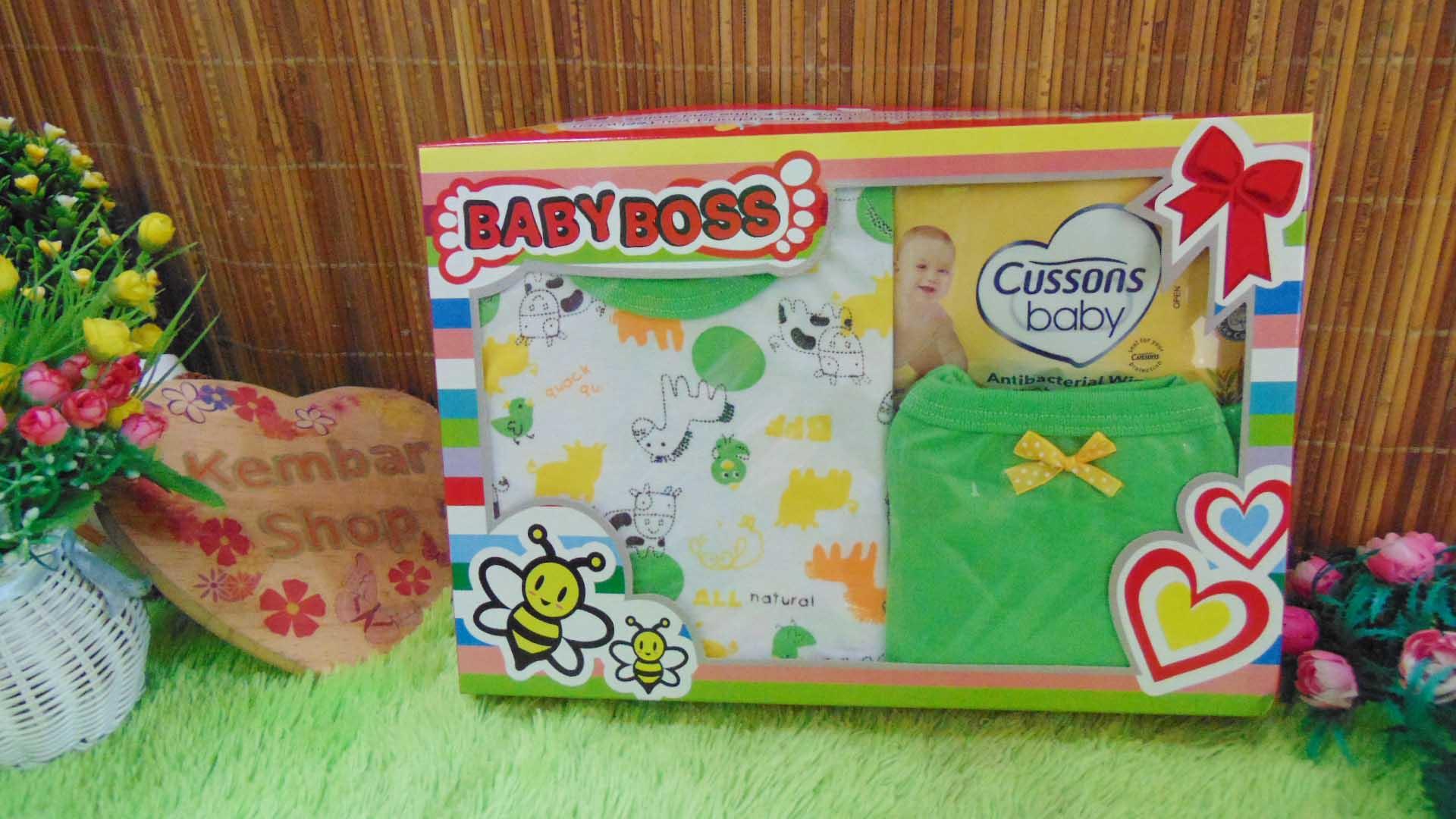 FREE KARTU UCAPAN Paket Kado Bayi 0-12bulan Setelan Plus Wipes warna random (3)