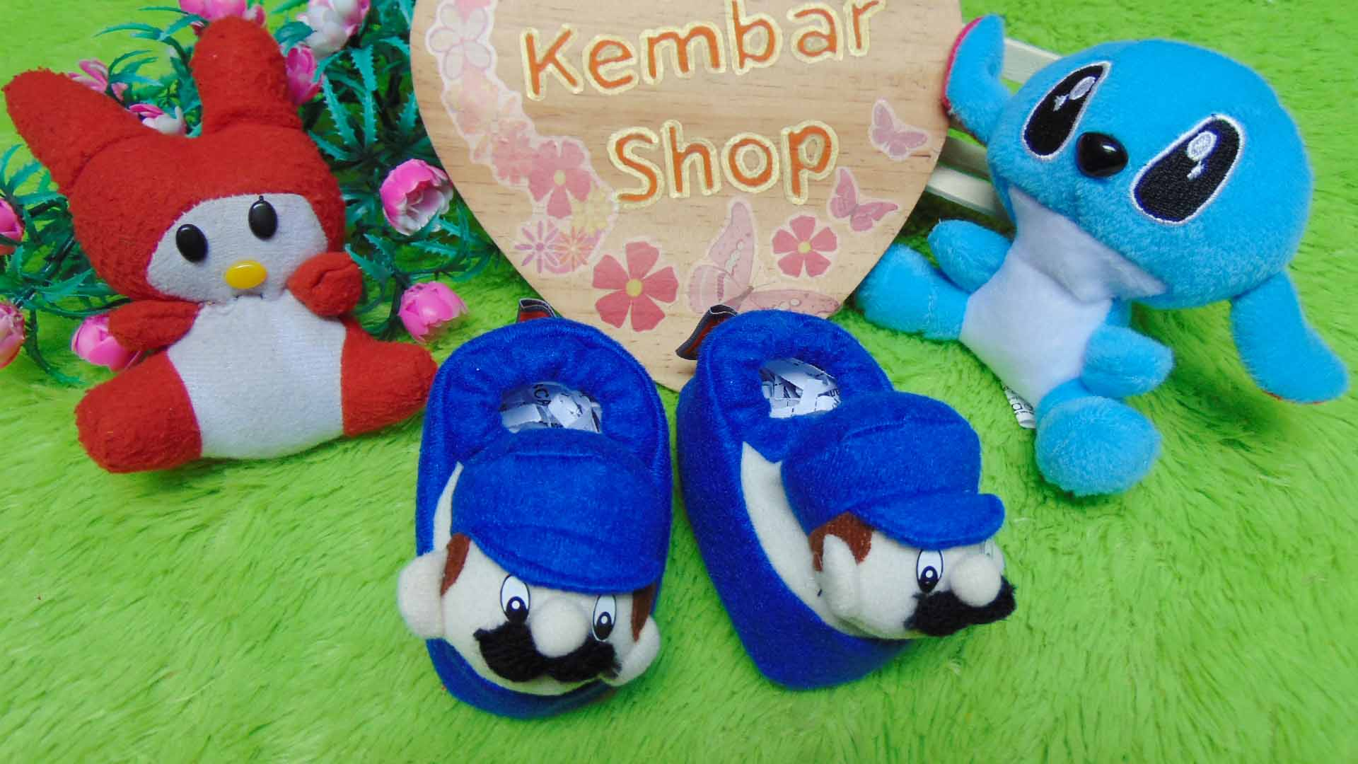 foto-utama-kado-bayi-baby-gift-set-sepatu-prewalker-alas-kaki-newborn-0-6bulan-lembut-motif-Super-Mario-Blue