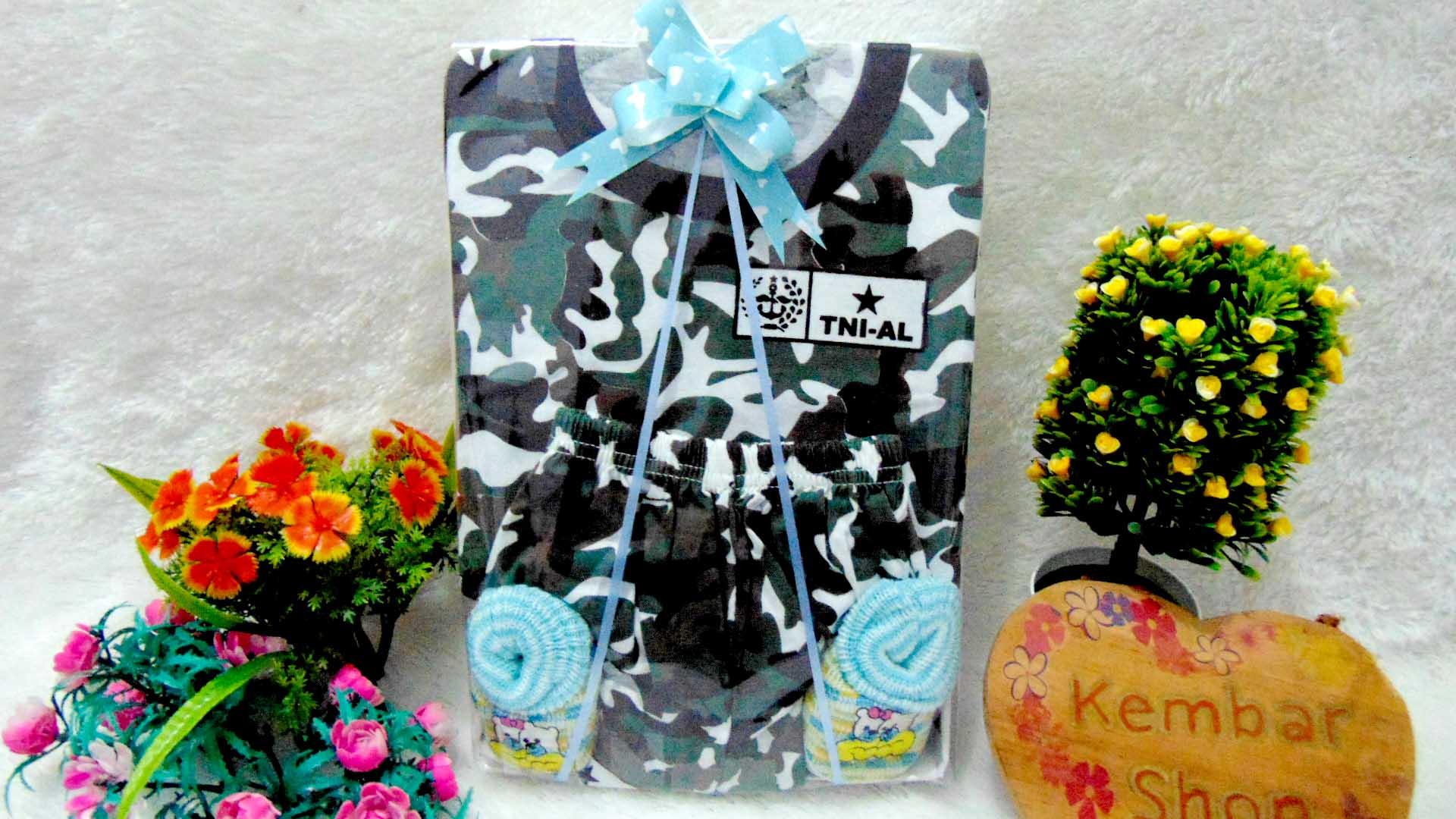 PAKET A FREE KARTU UCAPAN TERMURAH COD Paket Kado Bayi Laki-Laki Setelan Army Tentara Doreng n Sepatu Bayi