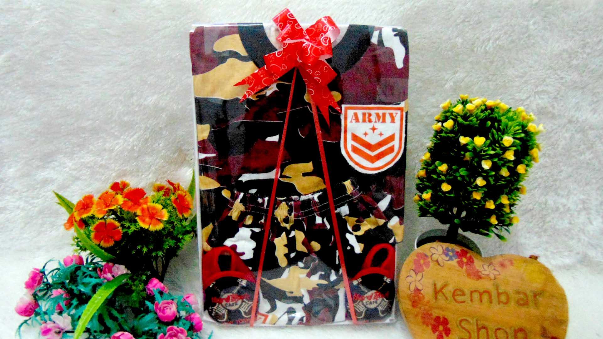 PAKET B FREE KARTU UCAPAN TERMURAH COD Paket Kado Bayi Laki-Laki Setelan Army Tentara Doreng n Sepatu Bayi