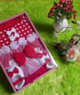 paket kado bayi dress polka merah 77 terdiri dari dress,sepatu,bando bahan lembut banget kualitas terjamin