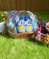 EKSKLUSIF paket kado bayi keranjang tangkai biru