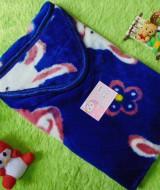 selimut bayi bulu topi selimut bepergian bayi bludru lembut motif kelinci biru 40 bahan lembut cocok sebagai pelindung bayi ketika bepergian,juga cocok untuk kado bayi