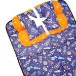 EKSKLUSIF Kado Bayi Baby Bedding Set 4in1 Matras Perlak Set Bantal Peang Plus 2 Guling motif Astronot Antariksa Navy